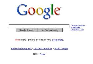 Google Home page, has a link to the g-1 google phone